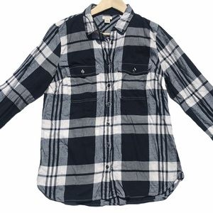 J. Crew Black White Plaid Flannel Button Down